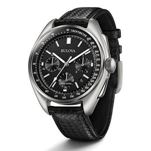 Bulova moon watch for young men black leather strap