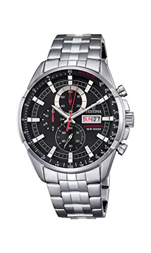 Festina men's watch Strap Stainless steel Silver with black dial F6844.4