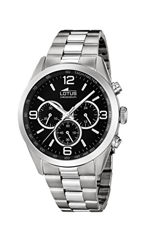 Lotus Quartz men's watches with silver stainless steel strap 18152 2