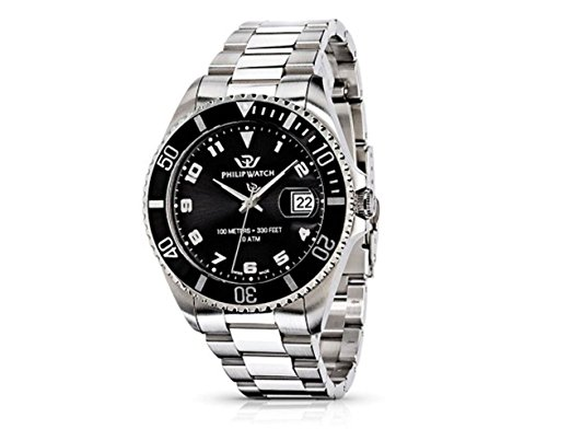 Man watch PhilipWatch Caribe Ext Gent MainApps stainless steel black dial