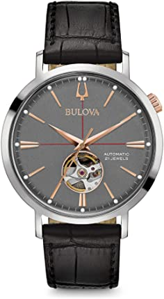 bulova watch with leather strap