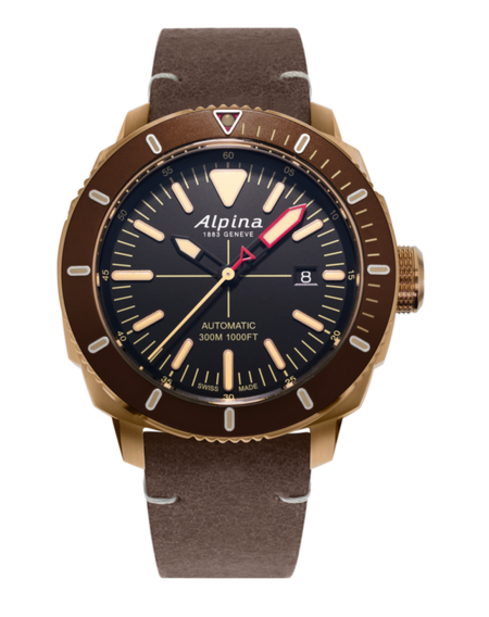 2000 dollar leather strap watch - ALPINA SEASTRONG DIVER